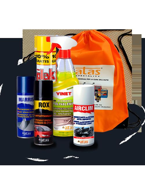 Пакет Atas Интериор, продукти за почистване и поддръжка на интериора на автомобила, 5 броя