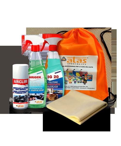 Пакет Atas за хигиенизиране интериора на автомобила, 4 продукта